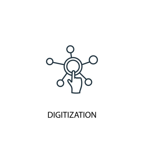 digitization concept line icon. Simple element illustration. digitization concept outline symbol design. Can be used for web and mobile UI/UX digitization concept line icon. Simple element illustration. digitization concept outline symbol design. Can be used for web and mobile UI/UX digitized stock illustrations
