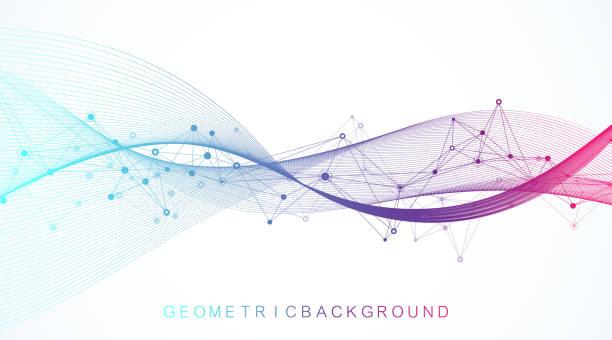 연결된 선과 점, 웨이브 흐름과 숫자 추상적 인 배경. 디지털 신경망. 프레젠테이션을 위한 네트워크 및 연결 배경입니다. 그래픽 다각형 배경입니다. 벡터 그림입니다. - 컴퓨터 그래픽 stock illustrations