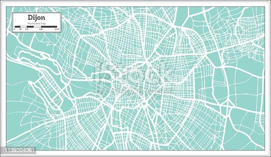 Dijon France City Map in Retro Style. Outline Map. Vector Illustration.