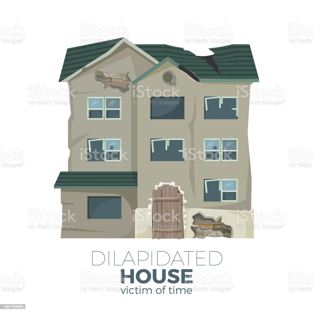 Dilapidated house as victim of time promotional poster vector art illustration