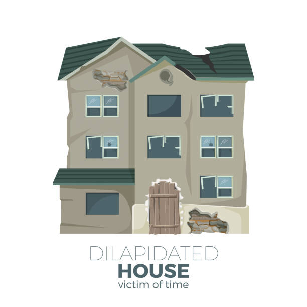 Dilapidated house as victim of time promotional poster Dilapidated house as victim of time promotional poster with old ruined house isolated cartoon flat vector illustration with sign on white background. bad condition stock illustrations