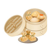 Dim sum style of Chinese cuisine prepared as small bite-sized portions of food served in steamer baskets or on small plates vector illustration