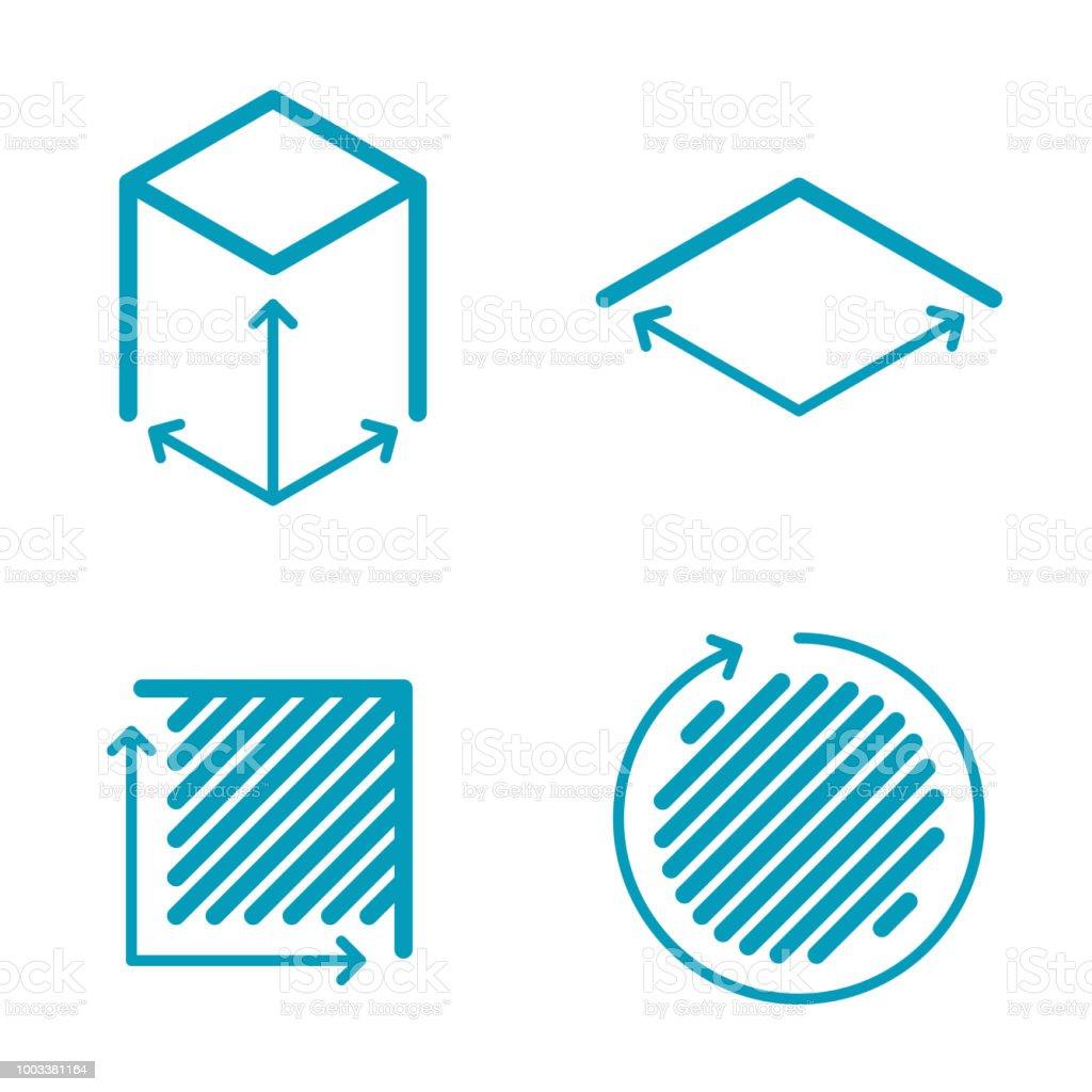 Dimension And Measuring Icon Set Size Square Area Concept Symbols ...