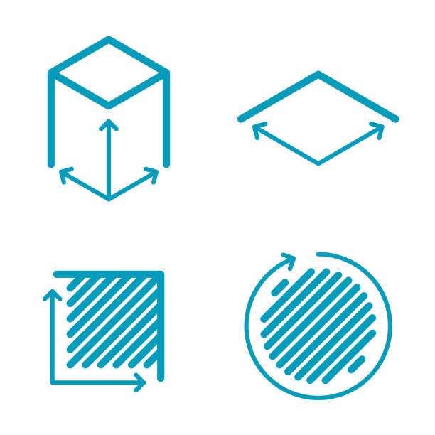 dimension and measuring icon set. size, square, area concept symbols. - dostatek stock illustrations