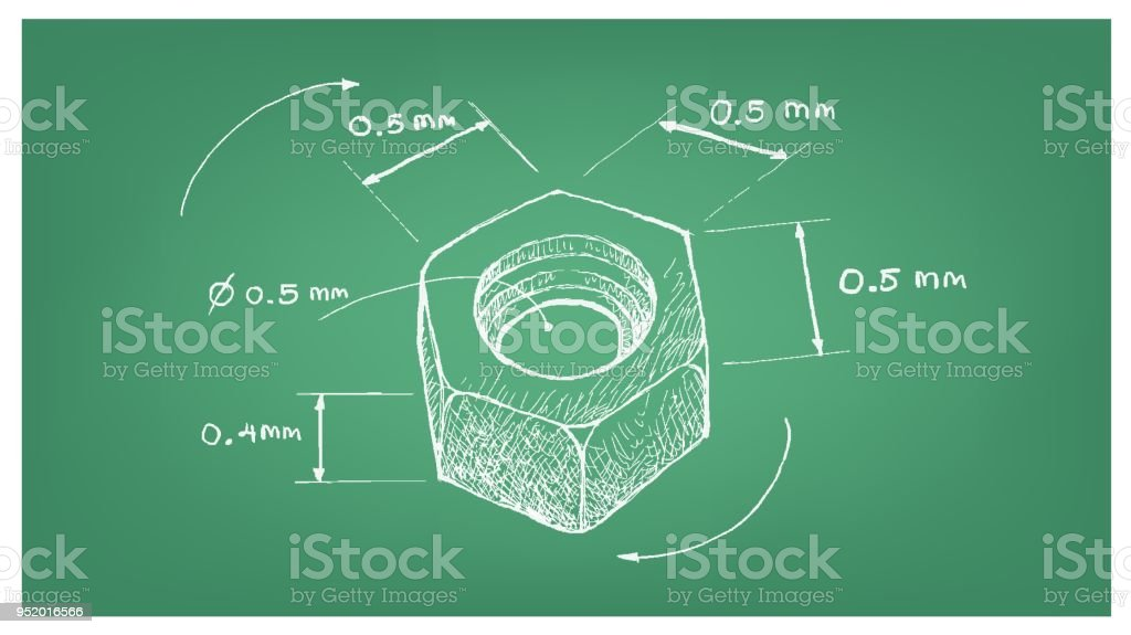 Dimension of hex nut screw on blueprint stock vector art more dimension of hex nut screw on blueprint royalty free dimension of hex nut screw on malvernweather Images