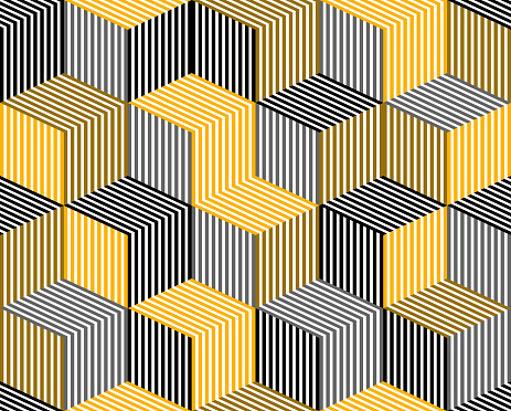 3D dimensional lined cubes seamless pattern, geometric endless texture with lines and boxes, architecture theme, black and yellow graphic design background image.