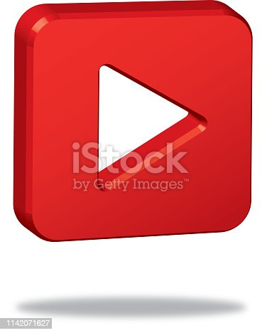 Vector illustration of a red three dimensional play button with a shadow beneath it.