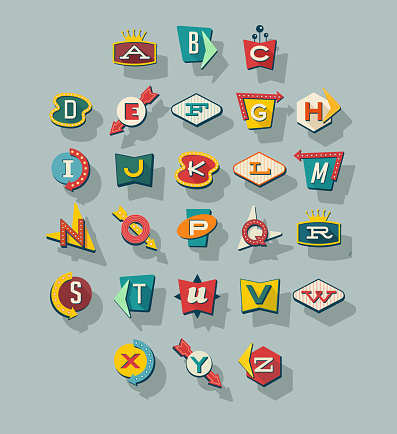 Dimensional retro style signs alphabet. Letters on vintage style signs. Collection reminiscent of 1950s roadside signs. Vector illustration.