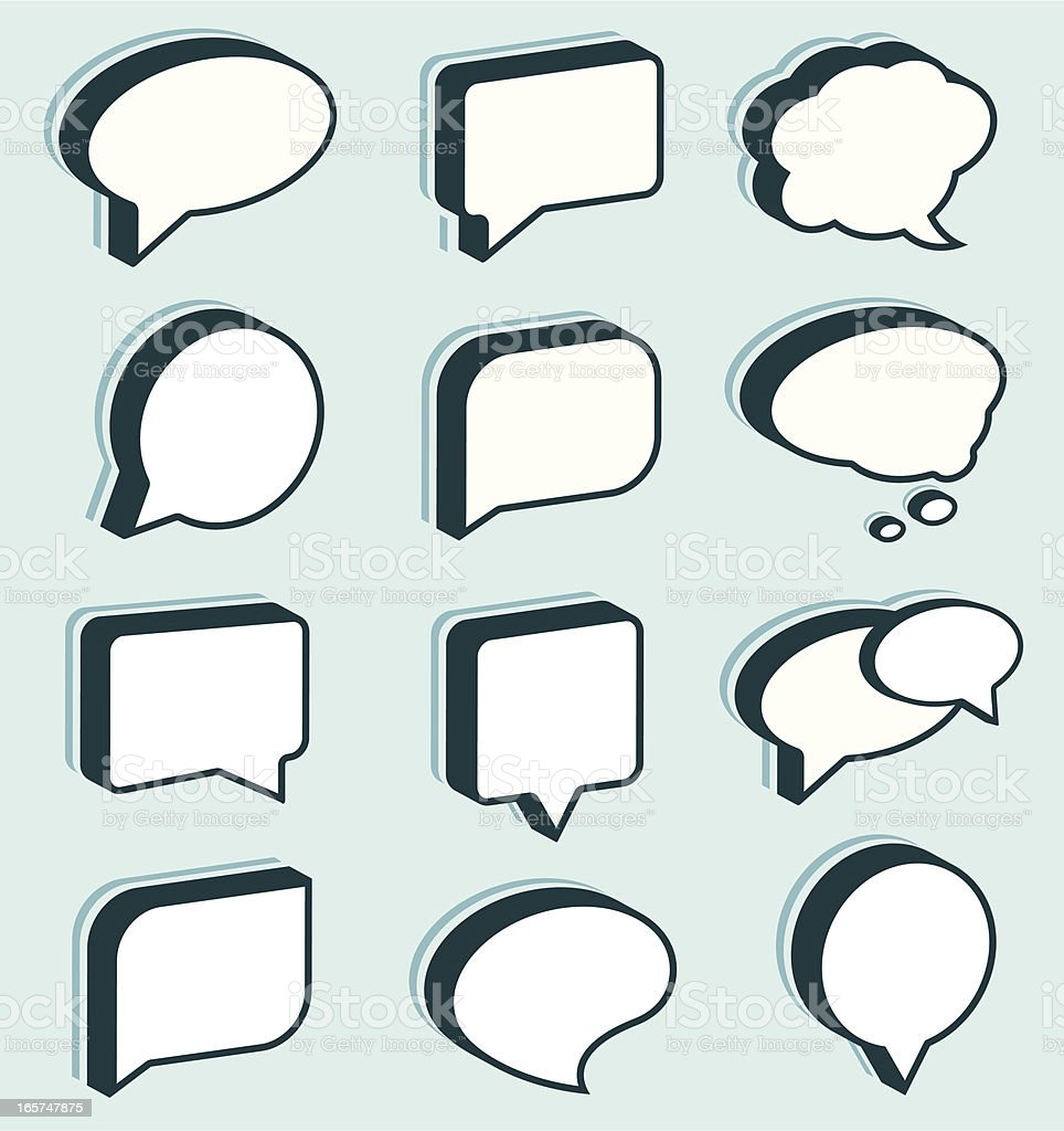 Dimensional Speech/Thought Bubbles royalty-free stock vector art