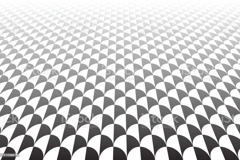 Diminishing perspective view. Fish scales pattern. vector art illustration