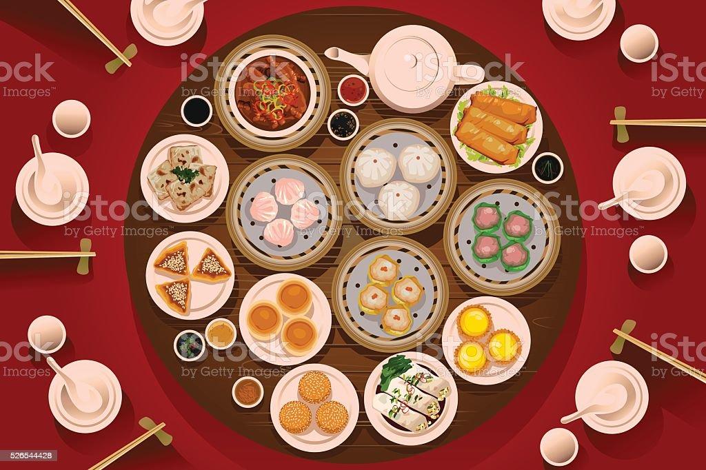 Alimentos sobre la mesa de Dimsum - ilustración de arte vectorial