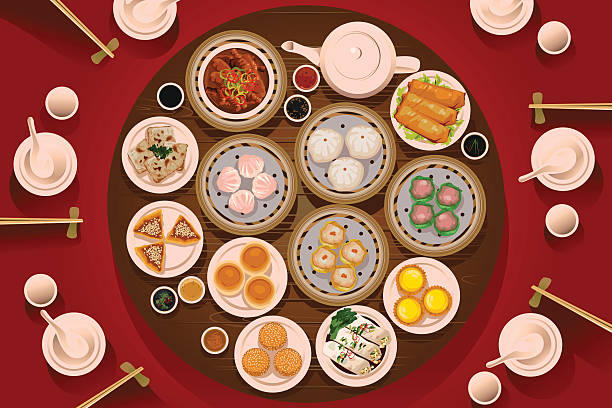 dimsum food on the table - chinese food stock illustrations, clip art, cartoons, & icons