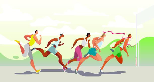 Dinamische Laufmenschen. sieger. Sportwettkampf in der Luft. Marathonlauf. Vektor. Eps10 – Vektorgrafik