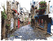 Vector illustration of Dinan street (France). Each color is placed on a single level. You can easily change the colors or change details according to your needs.