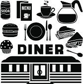 Vector diner design elements.