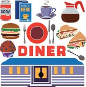 A vector illustration of a diner icon set.