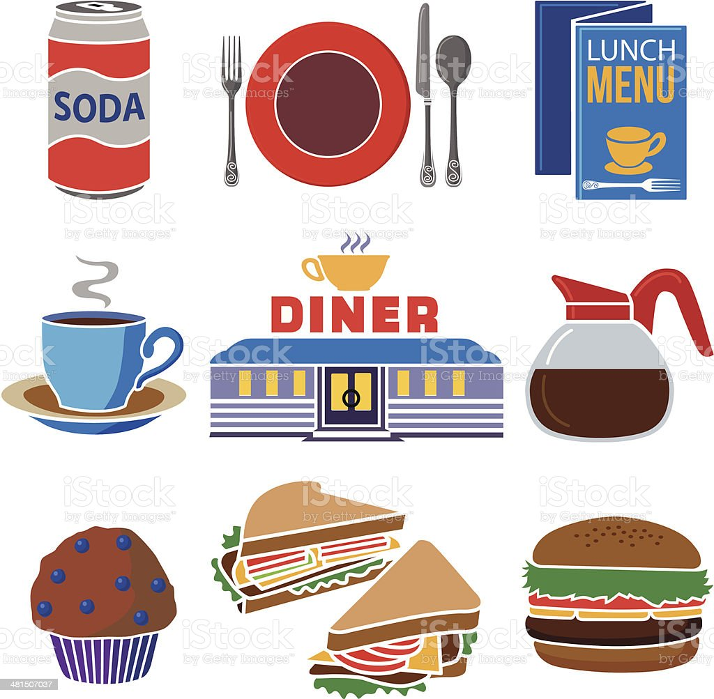 diner icon set royalty-free stock vector art