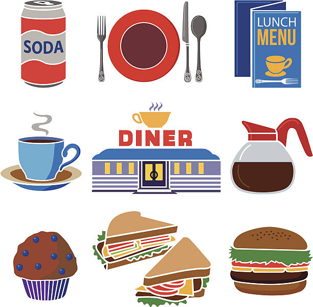diner icon set vector art illustration
