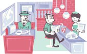 illustration of people eating at a diner