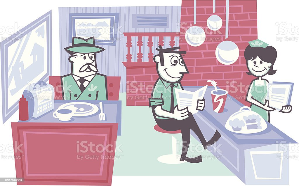 diner scene vector art illustration