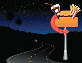 Car heading down the highway in the desert toward a diner sign.