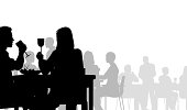 Editable vector silhouette of people eating in a restaurant. Hi-res jpeg file included.
