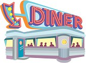 1950's style diner, with large neon sign.