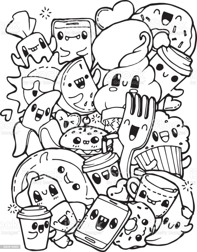Dining Doodles Breakfast Lunch Dinner Food Coloring Pages For Kids ...