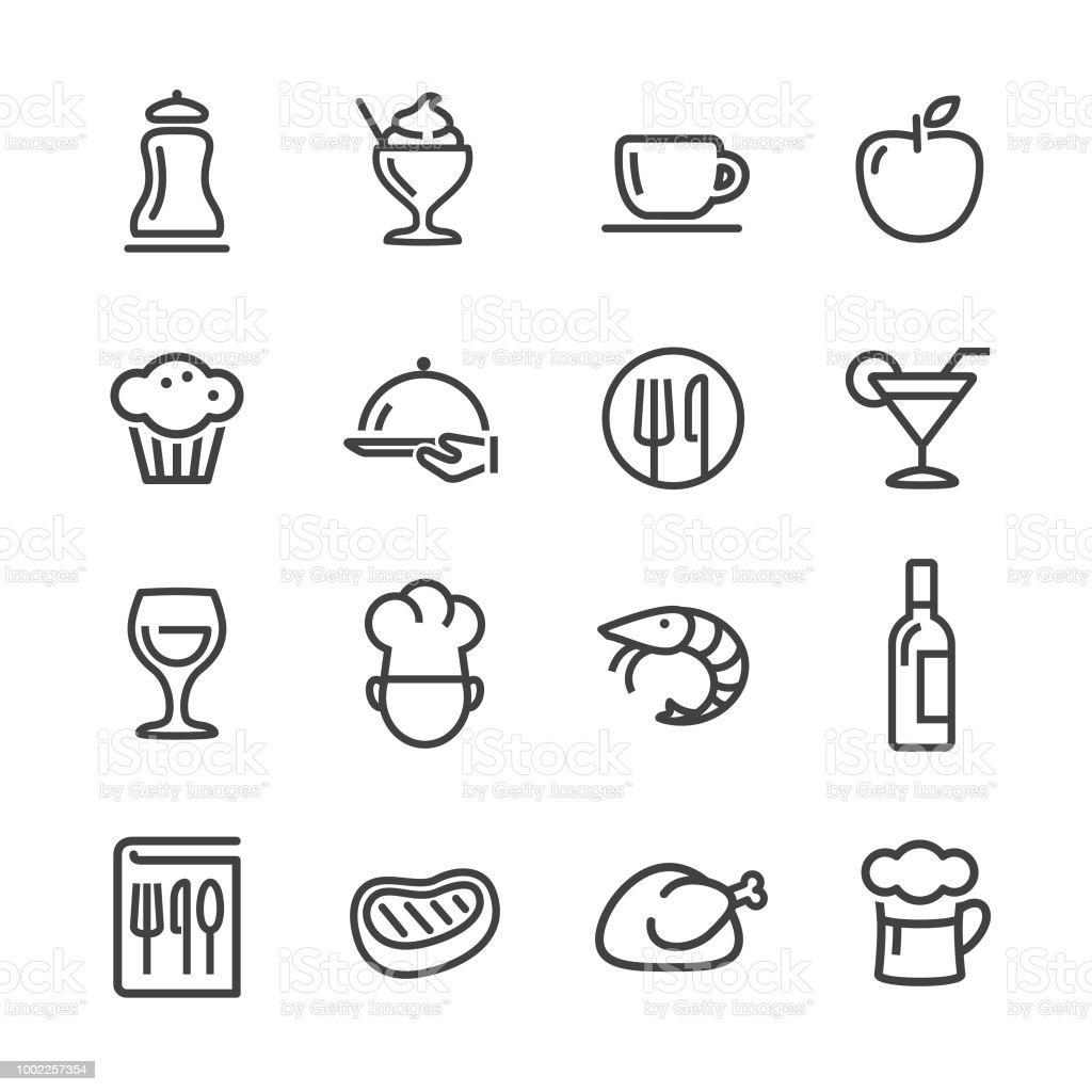 식당 아이콘-라인 시리즈 - 로열티 프리 개체 그룹 벡터 아트