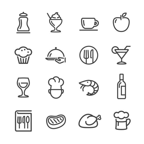 식당 아이콘-라인 시리즈 - 음식 및 음료 실루엣 stock illustrations
