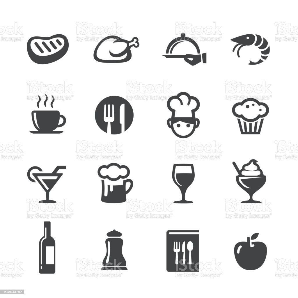 Dining Icons Set - Acme Series vector art illustration