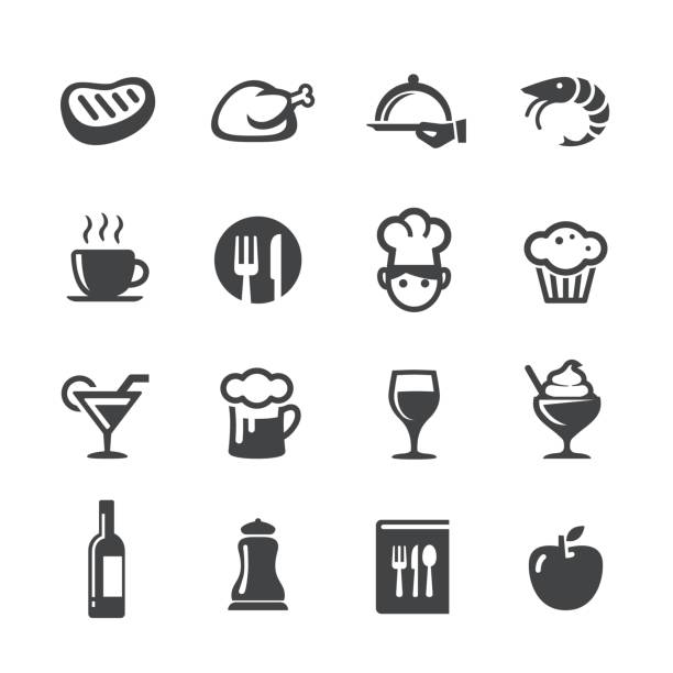 ess-icons set - acme-serie - restaurants stock-grafiken, -clipart, -cartoons und -symbole