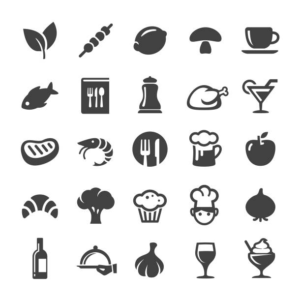 illustrazioni stock, clip art, cartoni animati e icone di tendenza di dining icons - smart series - food