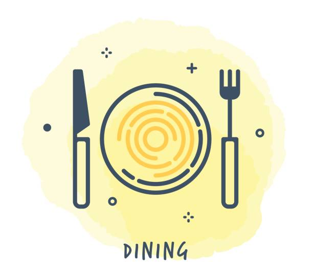 Dining Line Icon Line Style Vector Illustration for Dining. serving dish stock illustrations