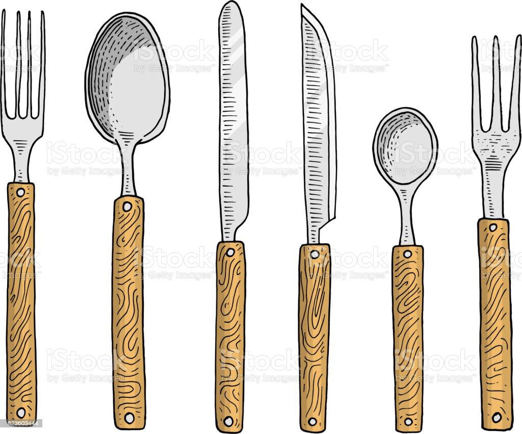 Cena O Merienda Tenedor Para Ostras Helado Cuchara Y Cuchillo Para ...