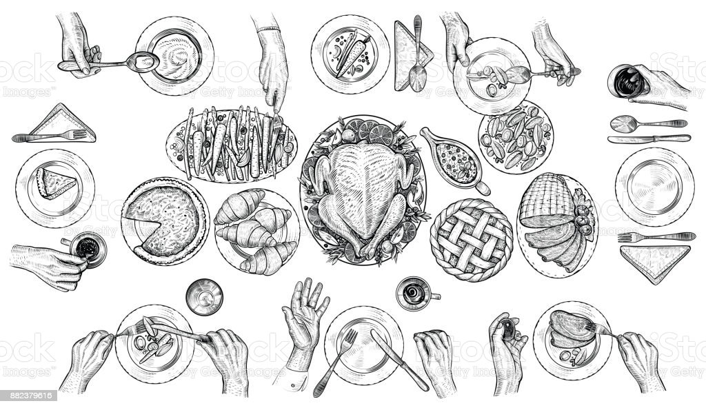 Dining people, vector illustration. Hands with cutlery at the table. Top view drawing. vector art illustration