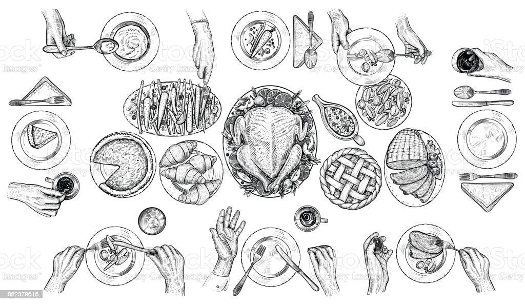 Comida personas, vector de ilustración. Manos con cubiertos en la mesa. Vista superior de dibujo. - ilustración de arte vectorial