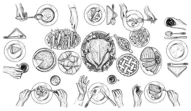 illustrazioni stock, clip art, cartoni animati e icone di tendenza di dining people, vector illustration. hands with cutlery at the table. top view drawing. - tavola imbandita
