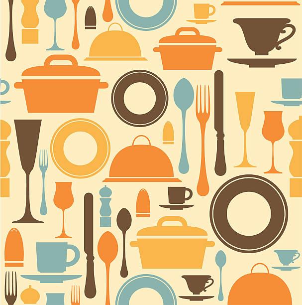 Dining Repeat Pattern vector art illustration