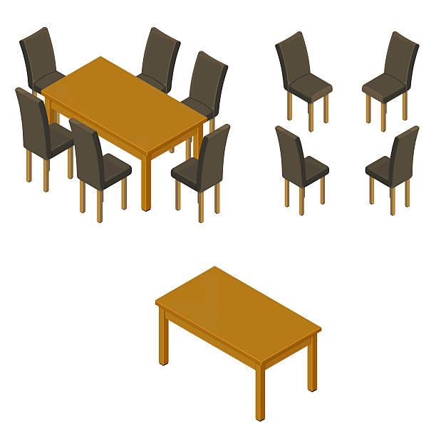 stockillustraties, clipart, cartoons en iconen met dining room and chairs. - breakfast table