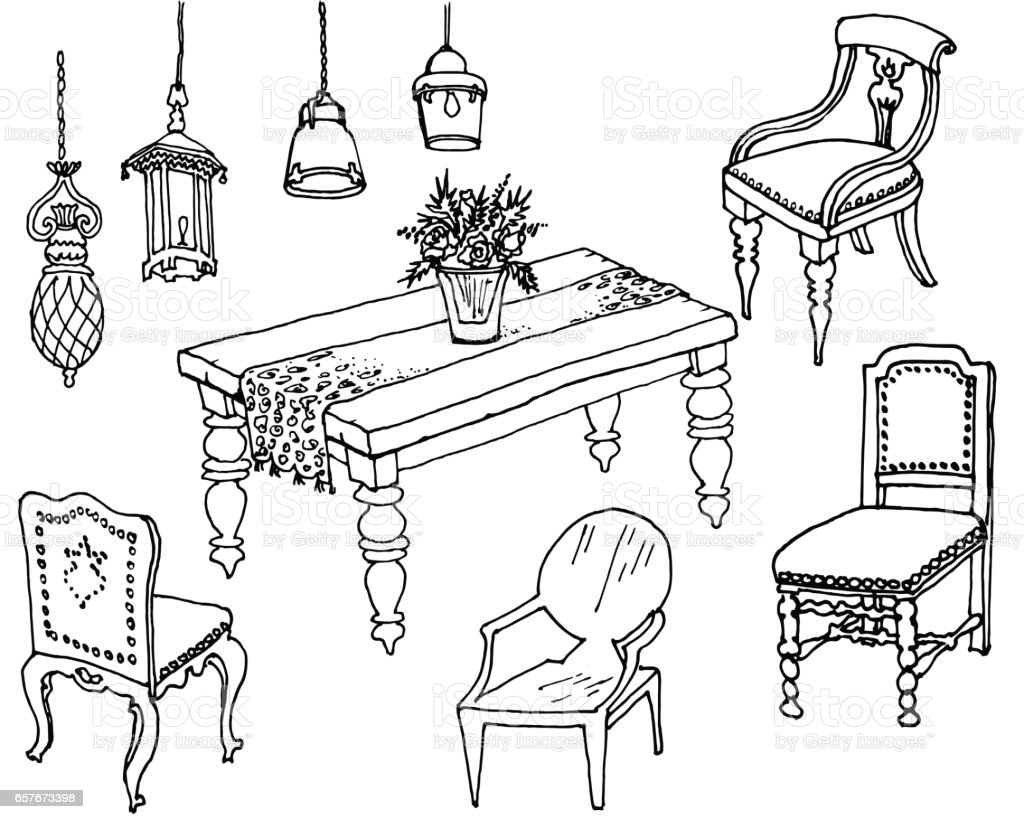 Dining Room Furniture Classic Sketch Royalty Free Stock