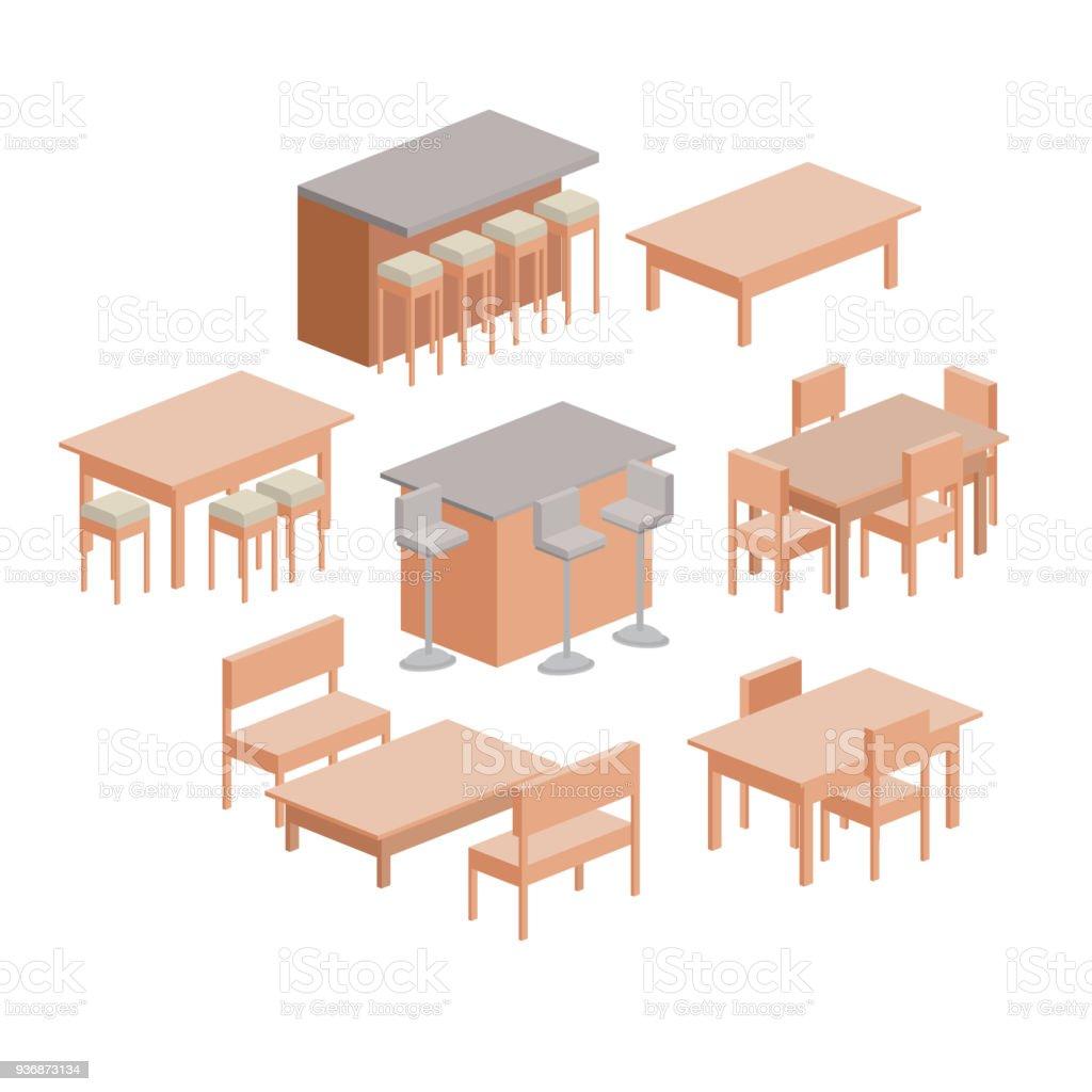 Ilustración de Mobiliario Comedor Colorido Silueta Sobre ...