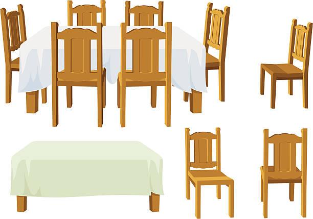 Dining Room Furniture vector art illustration