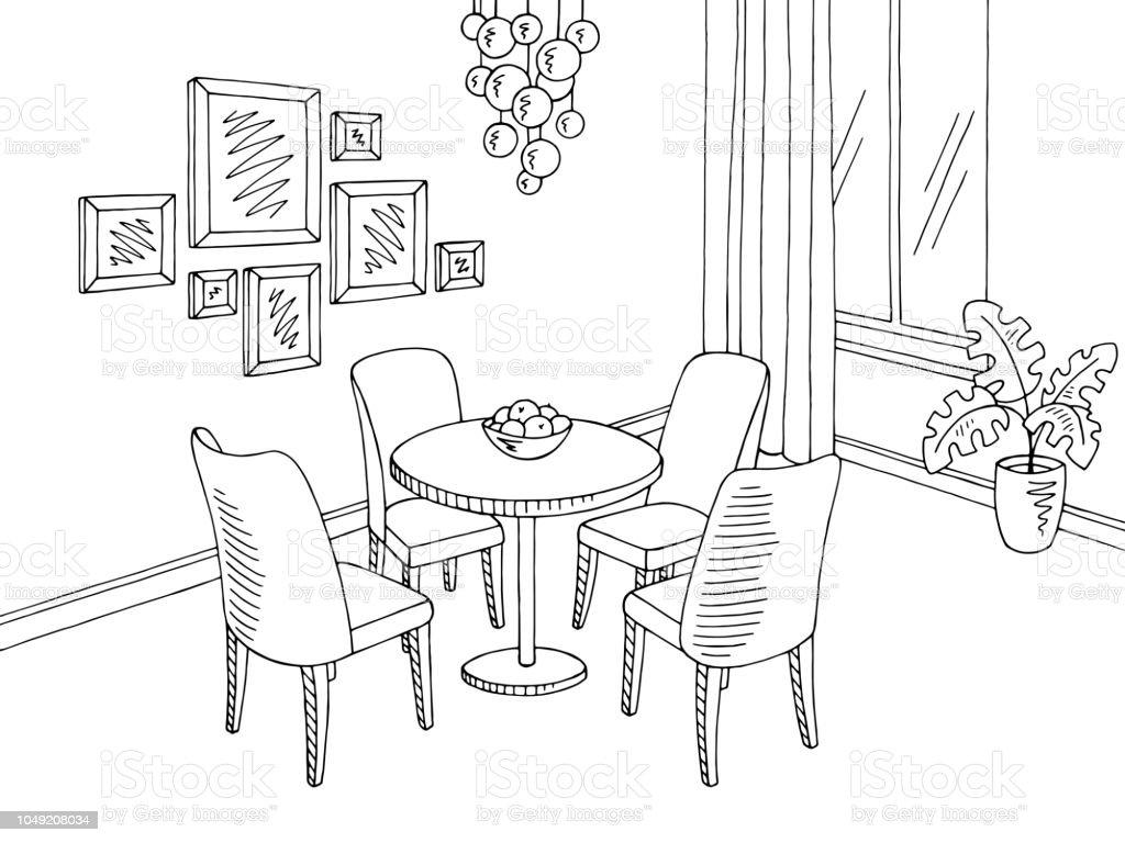 Ilustración De Vector De Ilustración Interior Hogar Comedor Gráfico