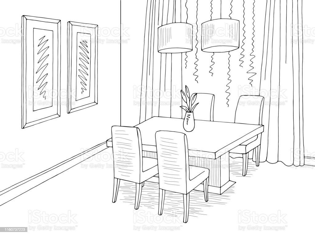 Esszimmer Grafik Schwarz Weiss Skizze Home Interior Illustration Vektor Stock Vektor Art Und Mehr Bilder Von Architektur Istock