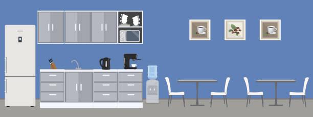 Dining room in the office vector art illustration