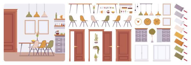 ilustrações, clipart, desenhos animados e ícones de kit de criação de casa interior, moderna de sala de jantar - landscape creation kit