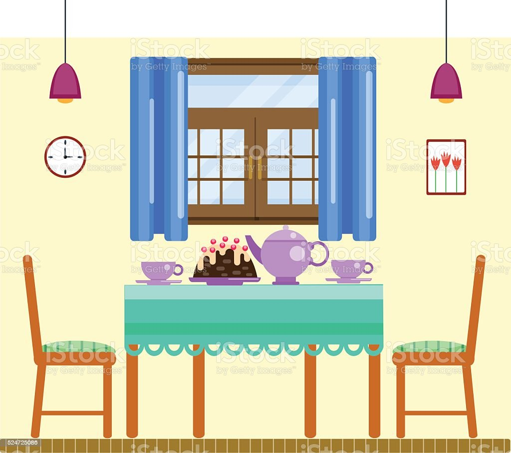 Dining Room Interior With Utensils And Furniture Royalty Free