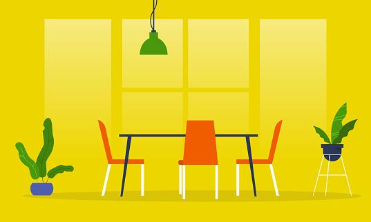 Dining room. Restaurant. Millennial lifestyle interior. Flat editable vector illustration, clip art
