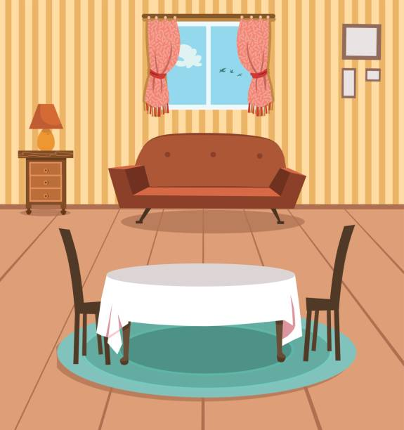 Dining Room Vector Art Illustration